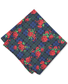 Bar III Men's Rose Tartan Pocket Square, Created for Macy's