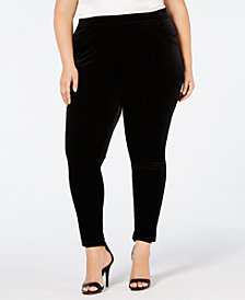 Calvin Klein Plus Size Pull-On Velvet Ankle Leggings