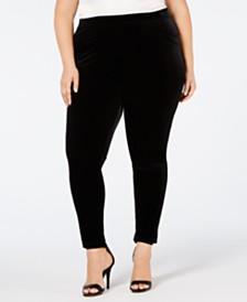 cda72084a66 Calvin Klein Plus Size Pull-On Velvet Ankle Leggings