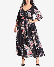 City Chic Trendy Plus Size Floral-Print Fit & Flare Maxi Dress