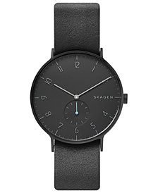 Skagen Men's Aaren Black Leather Strap Watch 40mm