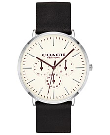 COACH Men's Varick Black Leather Strap Watch 40mm