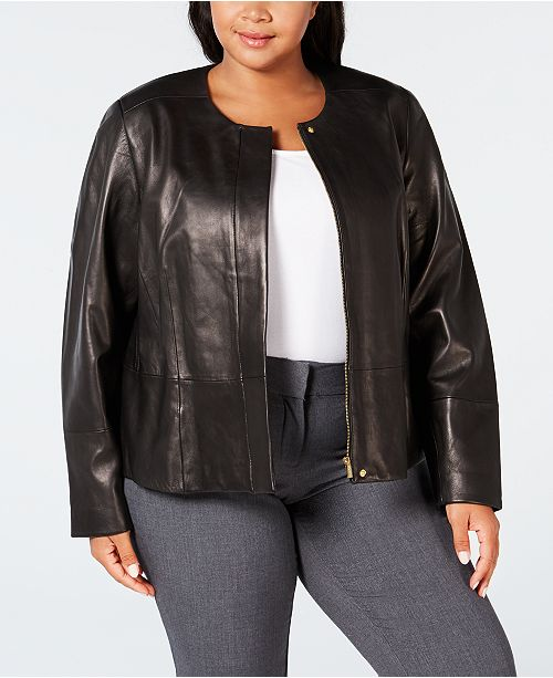 e570ca0d742 Calvin Klein Plus Size Leather Moto Jacket - Jackets   Blazers ...
