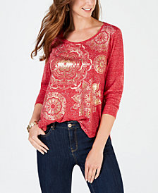 Style & Co Foil-Print Long-Sleeve T-Shirt, Created for Macy's