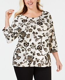 JM Collection Plus Size Metallic Flocked Top, Created for Macy's