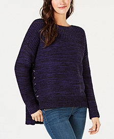 Style & Co High-Low Lace-Up Sweater, Created for Macy's