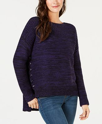 Style Co High Low Lace Up Sweater Created For Macys Sweaters