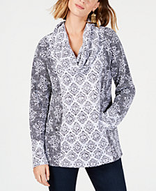 Style & Co Printed Cowl-Neck Top, Created for Macy's