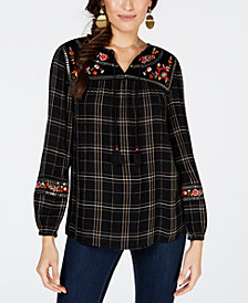 Style & Co Embroidered Plaid Peasant Top, Created for Macy's