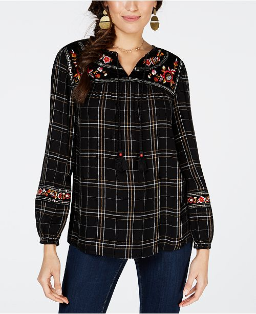Embroidered Plaid Peasant Top, Created for Macy's