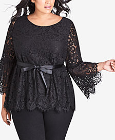 City Chic Trendy Plus Size Lace Ribbon-Sashed Top