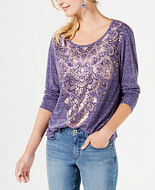 Style & Co Long-Sleeve Graphic Tee, Created for Macy's