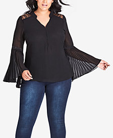 City Chic Trendy Plus Size Pleated Bell-Sleeve Top