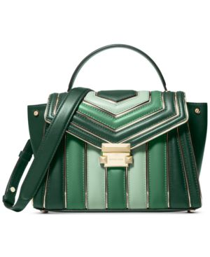 Michael Michael Kors Whitney Quilted Leather Tricolor Top Handle Satchel - Racing Green/Gold