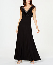 Adrianna Papell Petite Feather-Trim Gown