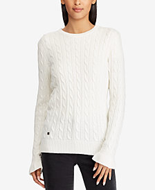 Lauren Ralph Lauren Ruffled-Cuff Striped Cotton Sweater
