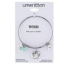 Wish Upon a Starfish Charm and Amazonite (8mm) Bangle Bracelet in Stainless Steel with Silver Plated Charms