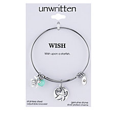 Unwritten Wish Upon a Starfish Charm and Amazonite (8mm) Bangle Bracelet in Stainless Steel