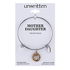 Unwritten Two-Tone Mother & Daughter Charm Bangle Bracelet in Rose Gold-Tone & Stainless Steel