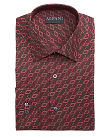 AlfaTech by Alfani Men's Fitted Performance Stretch Shaded Window Print Dress Shirt, Created for Macy's