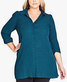City Chic Plus Size Button-Front Tunic Shirt