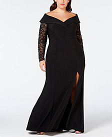 XSCAPE Plus Size Lace-Sleeve Off-The-Shoulder Gown