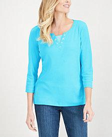 Karen Scott Neck-Inset Cotton Grommet Top, Created for Macy's