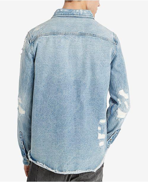 aae6e6c5e4d ... Buffalo David Bitton Men s Distressed Denim Shirt Shirts Men