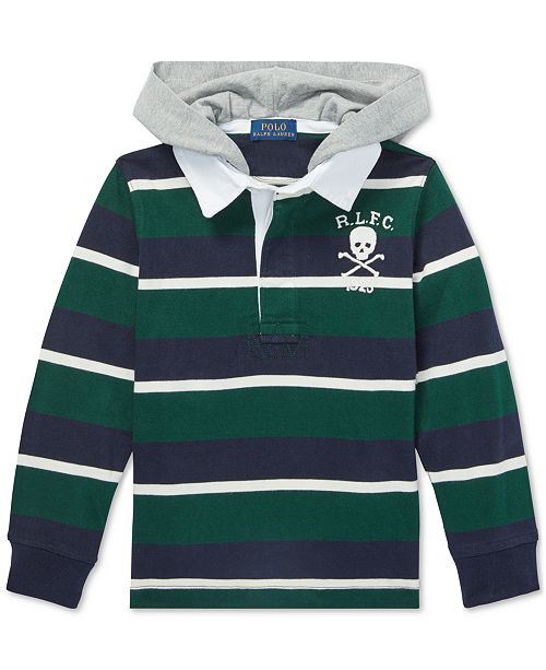 e0ecb2a6b1c Polo Ralph Lauren Big Boys Striped Hooded Cotton Rugby Shirt ...