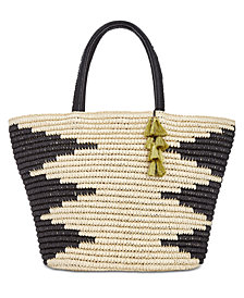 I.N.C. Willoww Stripe Tribal Straw Tote, Created for Macy's