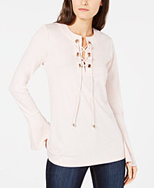 MICHAEL Michael Kors Grommet Bell-Sleeve Top, in Regular and Petite Sizes