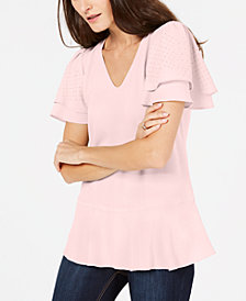 MICHAEL Michael Kors Tiered Embellished-Sleeve Top, in Regular and Petite Sizes