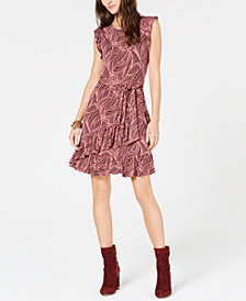 MICHAEL Michael Kors Flounce-Trim Tie-Waist Dress, in Regular and Petite Sizes