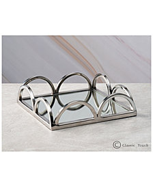 Classic Touch Mirrored Napkin Holder and Mirrored Tray With Side Bars