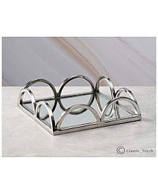 "Classic Touch 8"" Mirrored Napkin Holder With Side Bars"