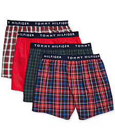 Tommy Hilfiger Men's 4-Pk. Woven Cotton Boxers