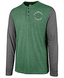 '47 Brand Men's Philadelphia Eagles Retro Match Long Sleeve Henley T-Shirt
