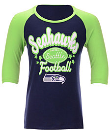 5th & Ocean Seattle Seahawks Raglan T-Shirt, Girls (4-16)