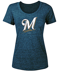 5th & Ocean Women's Milwaukee Brewers Tri-Blend Crew T-Shirt
