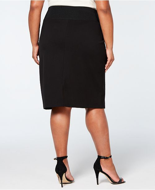 07796920eec Calvin Klein Plus Size Faux-Leather-Front Pencil Skirt   Reviews ...
