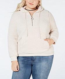 Planet Gold Plus Size Half-Zip Fleece Hoodie