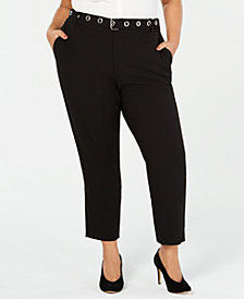 RACHEL Rachel Roy Trendy Plus Size Belted Cropped Pants
