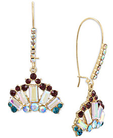 Betsey Johnson Gold-Tone Crystal Crown Long Drop Earrings