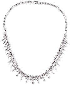 "Cubic Zirconia Dangle Cluster 18"" Statement Necklace in Sterling Silver"