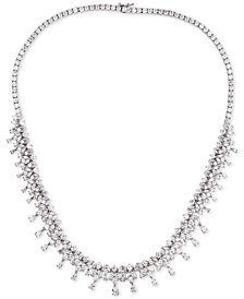 "Tiara Cubic Zirconia Dangle Cluster 18"" Statement Necklace in Sterling Silver"