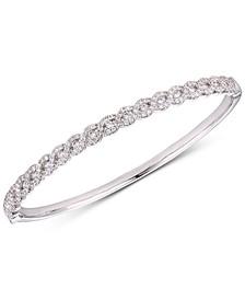 Cubic Zirconia Braid-Look Bangle Bracelet in Sterling Silver