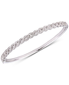 Tiara Cubic Zirconia Braid-Look Bangle Bracelet in Sterling Silver