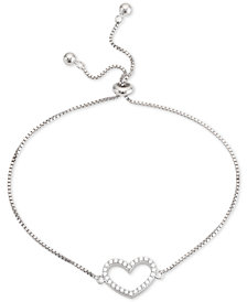 Giani Bernini Cubic Zirconia Heart Bolo Bracelet in Sterling Silver, Created for Macy's
