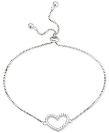 Giani Bernini Cubic Zirconia Heart Bolo Bracelet in Sterling Silver, Created for Macy's