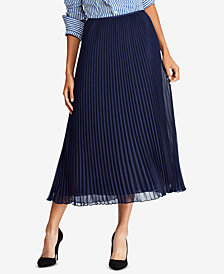 Polo Ralph Lauren Pleated Georgette Midi Skirt